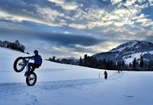 Wheelie with a Fat Bike in the Austrian Alps.