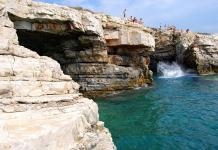 Cliff jumping at the cape in Pula, Croatia.