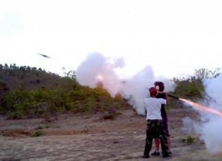 Shooting a bazooka in Cambodia