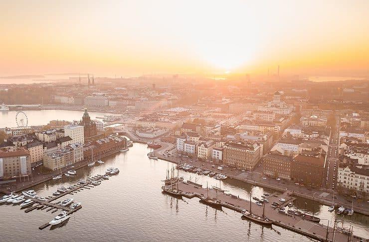 Sunset in Helsinki in Finland.