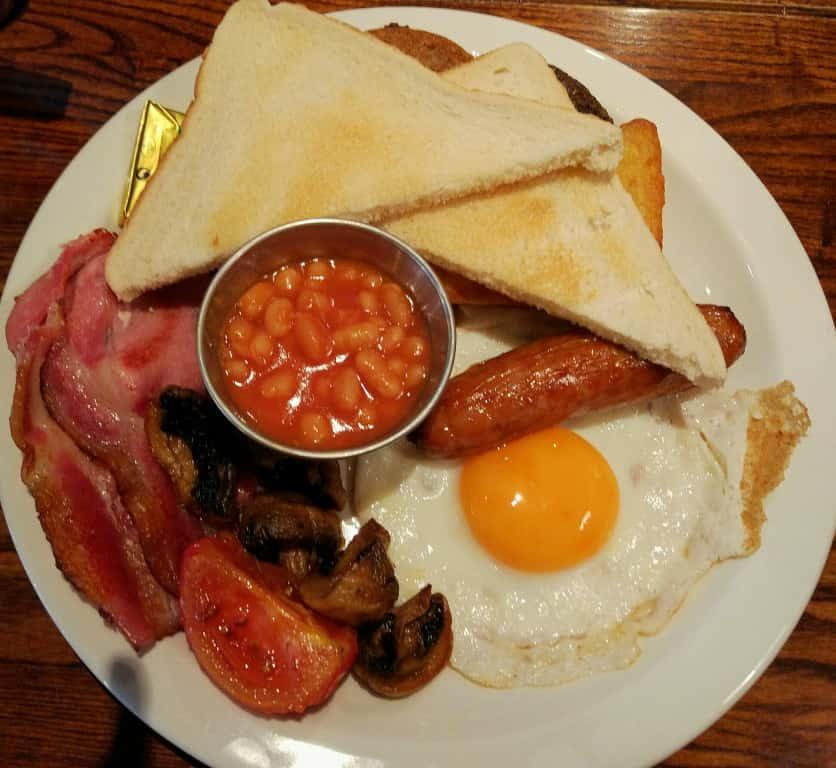 A Scottish breakfast complete with haggis