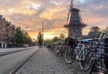 Cycling in Amsterdam, Netherlands
