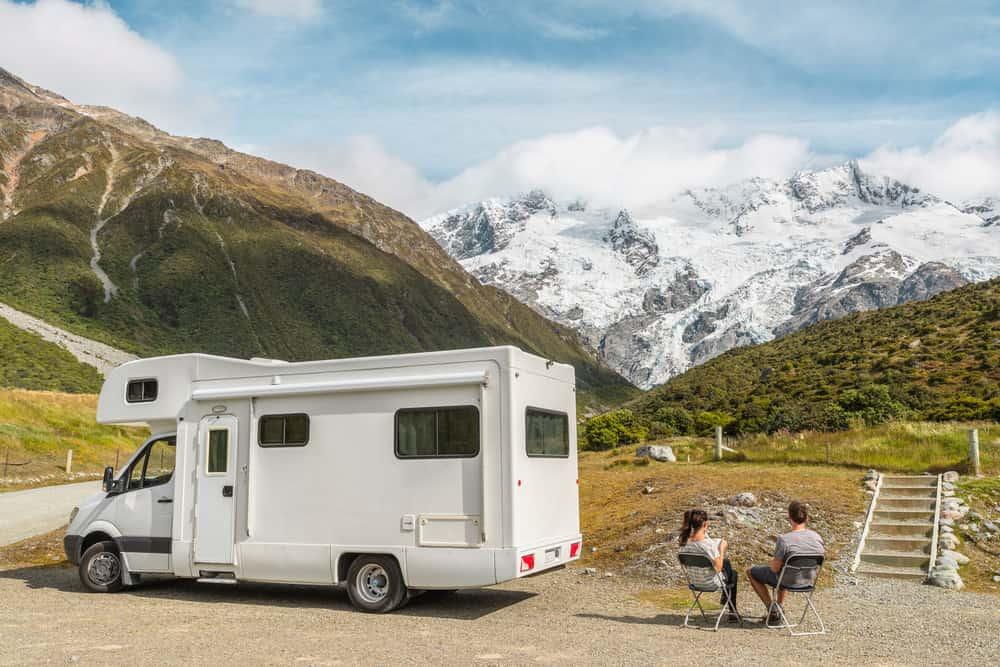 Motorhome camper van RV road trip on New Zealand.