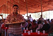 Eating mansaf in Jordan