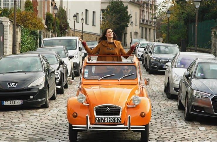 Citroën 2CV tour through Montmartre in Paris, France