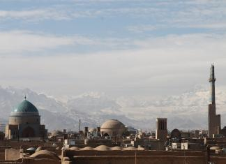 Snowy mountain city view in Iran