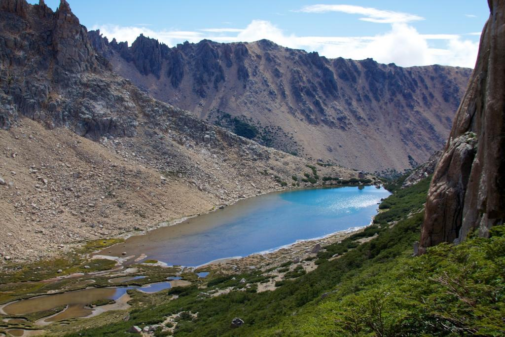 Climbing Refugio Fey to view Patagonian lakes