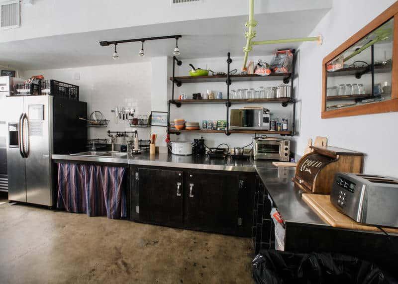 Kitchen at the Firehouse Hostel, Austin
