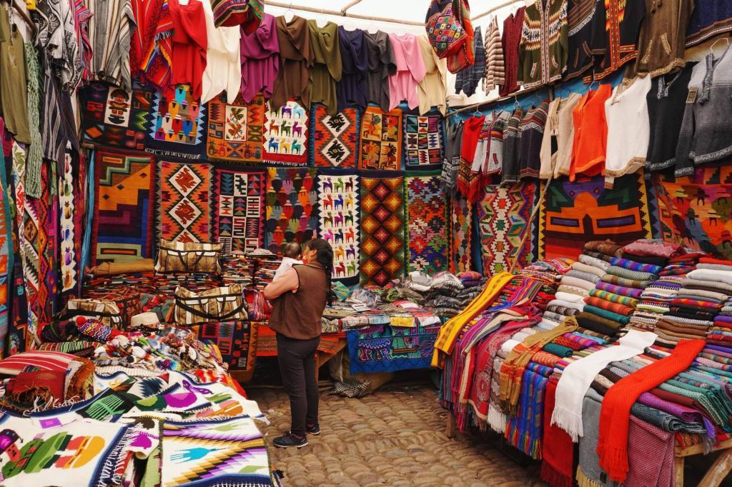 Shopping in markets in Cusco, Peru