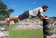 Workout at the Mayan ruins in Mexico.
